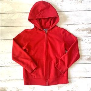 Lands End 7/8 Boys Red Zip Up Hoodie Jacket